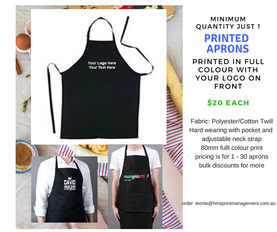 Branded Aprons - no minimum qty