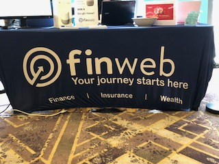 Finweb branded tablecloth